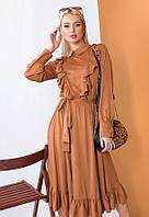 Женственное платье миди из тонкой замши 57446 (42–46р) в расцветках, фото 2