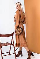 Женственное платье миди из тонкой замши 57446 (42–46р) в расцветках, фото 3