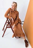 Женственное платье миди из тонкой замши 57446 (42–46р) в расцветках, фото 1