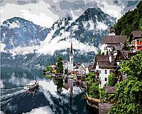 Картина по номерам на холсте с подрамником Швейцарские Альпы 50х40 см
