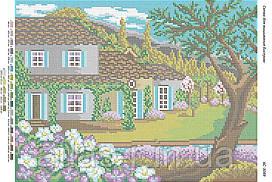 """Схема для полной зашивки бисером """"Коттедж в саду"""""""