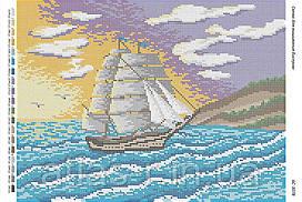 """Схема для полной зашивки бисером """"Корабль"""""""