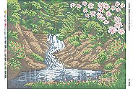 """Схема для полной зашивки бисером """"Лесной водопад"""""""