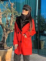 Женское демисезонное пальто с меховым воротником 42-46 р, фото 2