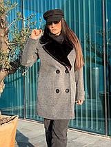 Женское демисезонное пальто с меховым воротником 42-46 р, фото 3