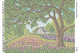 """Схема для полной зашивки бисером """"Цветущий сад"""""""