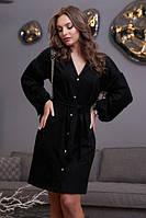 Платье черное прямое из замши
