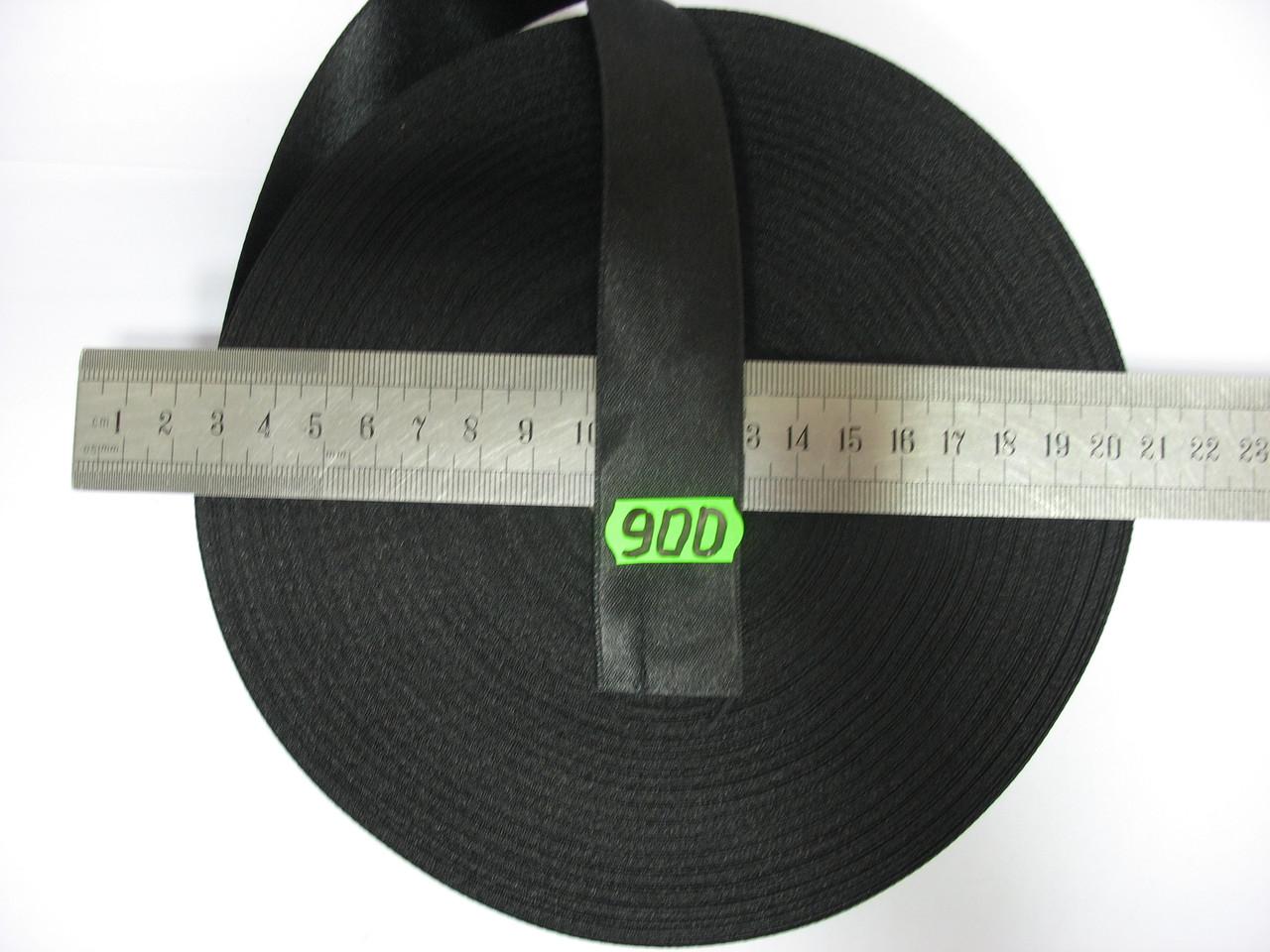 Лента атласная двухсторонняя 30мм, цвет черный, Турция