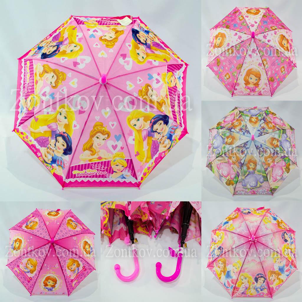 """Детский зонтик трость с принцессами оптом на 3-6 лет от фирмы """"Paolo Rosi"""""""
