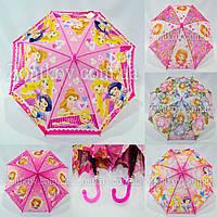 """Детский зонтик трость с принцессами оптом на 3-6 лет от фирмы """"Paolo Rosi"""", фото 1"""
