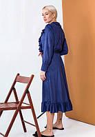 Женственное платье миди из тонкой замши 57446 (42–46р) в расцветках, фото 6