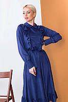 Женственное платье миди из тонкой замши 57446 (42–46р) в расцветках, фото 5