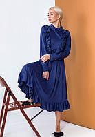Женственное платье миди из тонкой замши 57446 (42–46р) в расцветках, фото 4