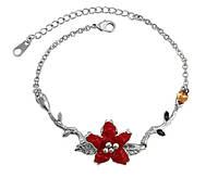 Ювелирная бижутерия Xuping, браслет с использованием элементов Swarovski (сваровски) красный цветок эмаль