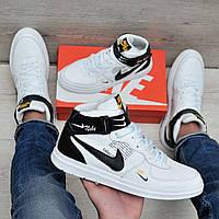 Белые кожаные кроссовки в стиле Nike, фото 1