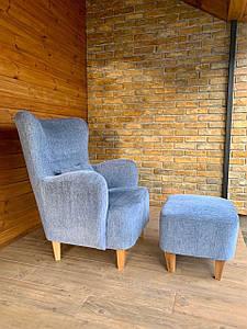 Кресло мягкое голубое с пуфом