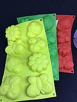 Форма силиконовая для выпечки кексов, печенья и маффинов 8 ячеек Луговое