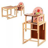 Детский деревянный стульчик для кормления V-001-1