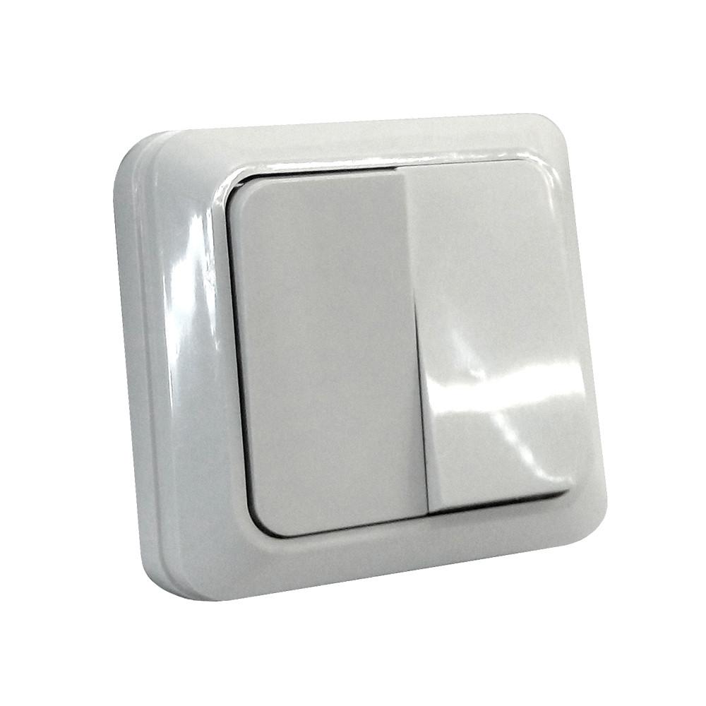 Выкл. двухклавишный наружный SOKOL Белый