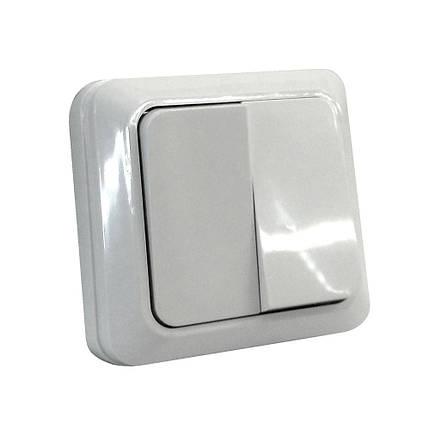 Выкл. двухклавишный наружный SOKOL Белый, фото 2