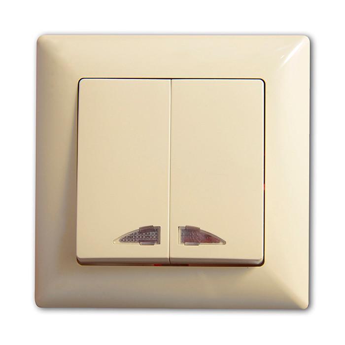 Выкл. двухкл. внутренний с подсветкой Günsan Visage Крем