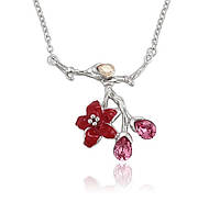 Украшения с кристаллами Swarovski колье бижутерия хупинг женское на цепочке с эмалью красный цветок