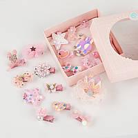 Набор детских заколок. Розовый лебедь 10 шт в подарочной коробочке.