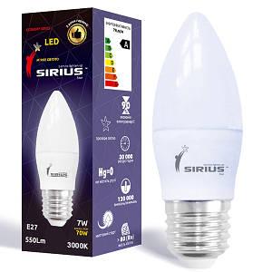Светодиодная лампа SIRIUS 1-LS-2205 C37 7W E27 3000K (Свеча)