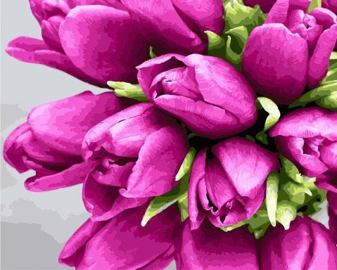 Холст для рисования Сиреневые тюльпаны (BK-GX28963) 40 х 50 см (Без коробки)