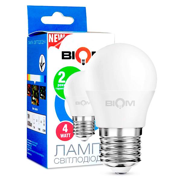Светодиодная лампа BIOM BT-543 G45 4W E27 3000K (Шар)