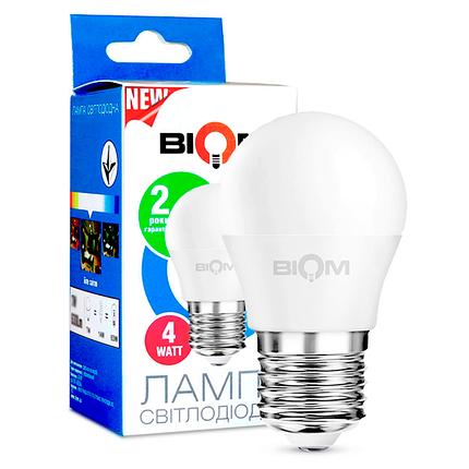 Светодиодная лампа BIOM BT-543 G45 4W E27 3000K (Шар), фото 2