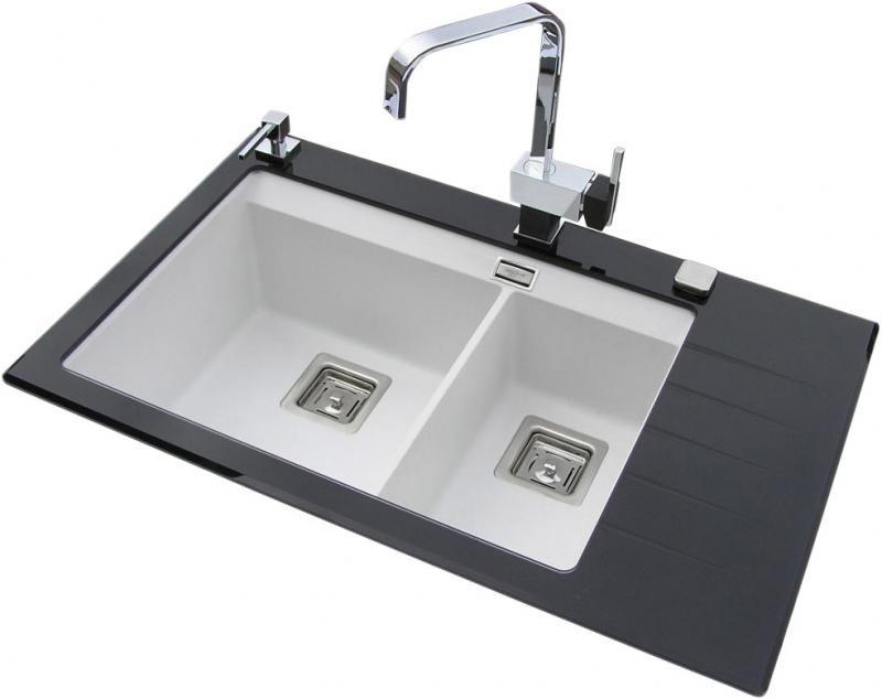 Кухонная мойка с черным стеклом Aquasanita Delicia GQD150B (860х540)