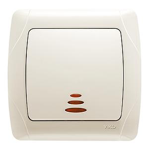 Выкл. однокл. внутренний с подсветкой VIKO Carmen Крем