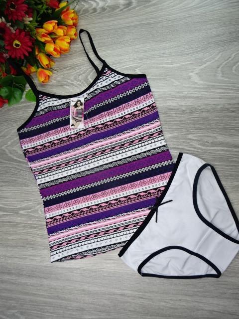 Набор майка и трусики Indena  хлопок 3XL (50-52) фиолетовые полоски (07021)