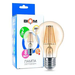 Филаментная лампа BIOM FL-411 8W E27 2350K Amber А60 (Груша)