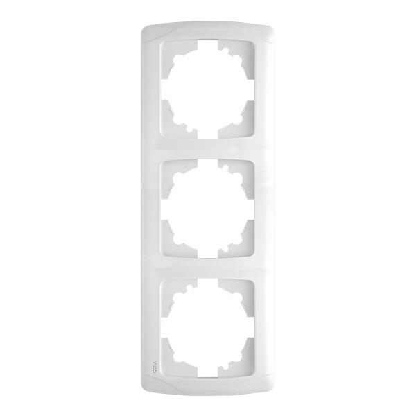 Рамка вертикальная VIKO Carmen на 3 поста Белая