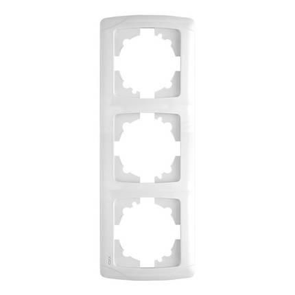 Рамка вертикальная VIKO Carmen на 3 поста Белая, фото 2