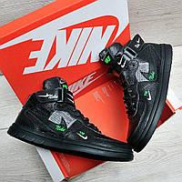 Черные кожаные кроссовки в стиле Nike