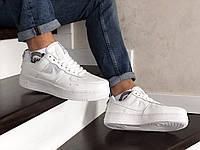 Мужские кроссовки Nike Air Force, белые кожаны еир форсы