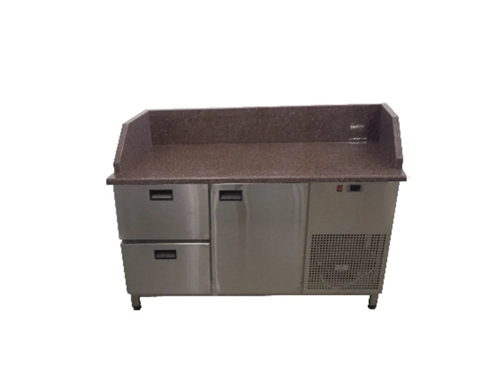 Холодильный стол с гранитной столешницей 1 дверь + 2 ящика 3 борта