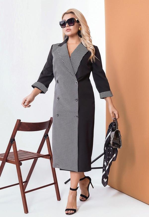 Комбинированное платье на запах «гусиная лапка» 58514 (48–58р) черный