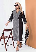 Комбинированное платье на запах «гусиная лапка» 58514 (48–58р) черный, фото 1