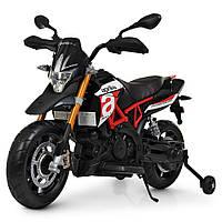 Детский мотоцикл Aprilia на аккумуляторе с кожаным сиденьем M 4252EL-3 красный