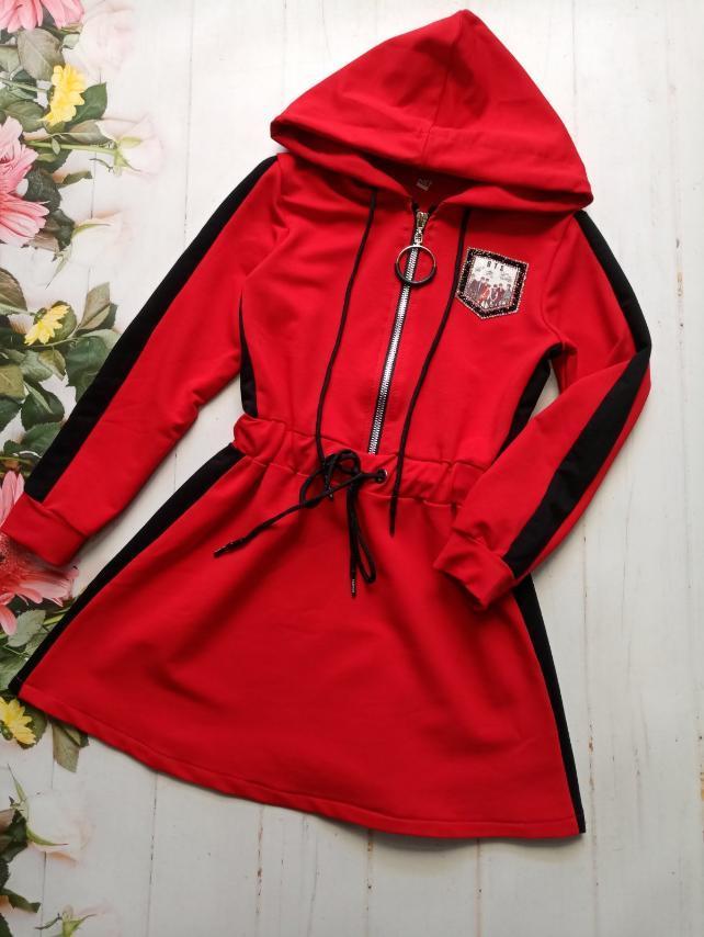 Платье для девочки с капюшоном р.128-152 опт красное