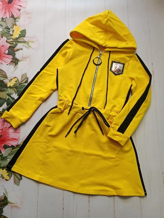 Платье для девочки с капюшоном р.128-152 опт желтое