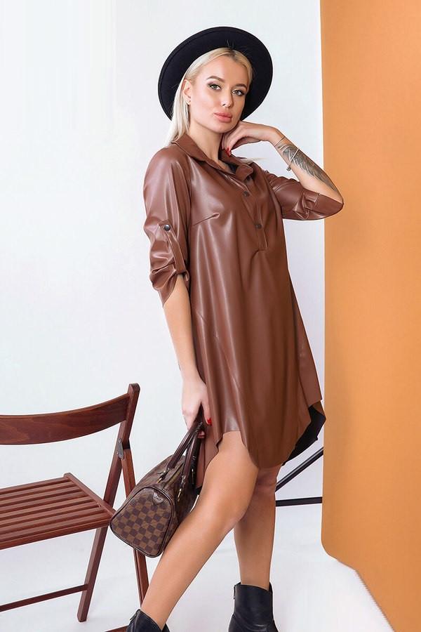 Суперстильное платье–рубашка из эко–кожи 57439 (42–48р) в расцветках