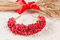 Ободок красный из роз
