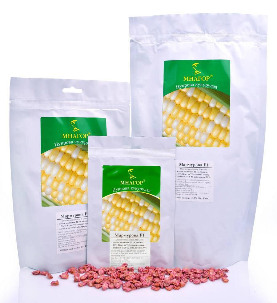 Сахарная кукуруза Мраморная F1, Sh2-тип, 100 000 семян на 1.5 га,  75-78 дней, биколор