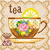 Алмазная живопись Чай, размер 20*20 см, забивка полная, стразы квадратные