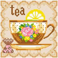 Алмазная живопись Чай, размер 20*20 см, забивка полная, стразы квадратные, фото 1